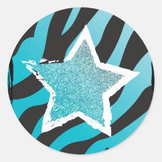 Party Like a Rockstar- Blue Glitter Star Sticker