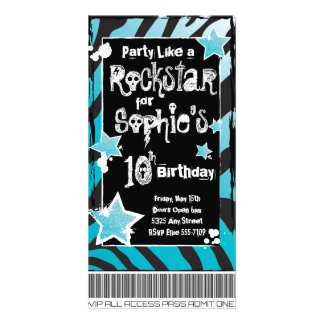 Party Like a Rockstar- Blue Invitation Template