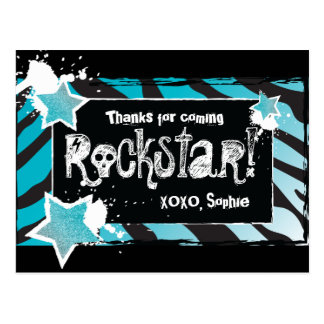 Party Like a Rockstar- Blue Thank You Post Card