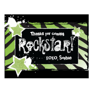 Party Like a Rockstar- Green Thank You Post Card