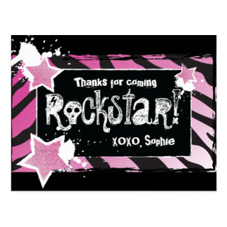 Party Like a Rockstar- Pink Thank You Post Card