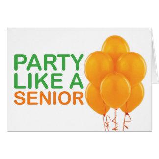 Party Like A Senior Birthday Card (Orange)
