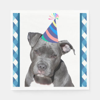 Party Like An Animal Black Dog With Birthday Hat Disposable Serviettes