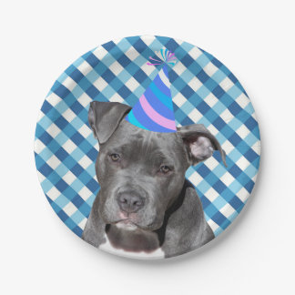 Party Like An Animal Black Dog With Birthday Hat Paper Plate