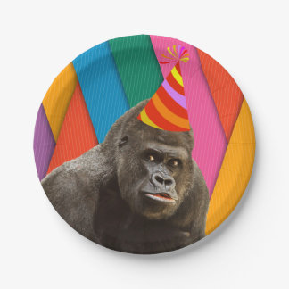 Party Like An Animal Gorilla With Hat Birthday 7 Inch Paper Plate