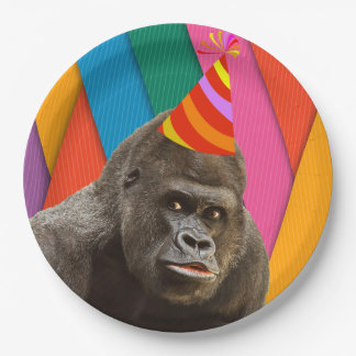Party Like An Animal Gorilla With Hat Birthday 9 Inch Paper Plate