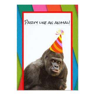 Party Like An Animal Gorilla With Hat Birthday Card