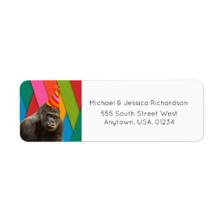 Party Like An Animal Gorilla With Hat Birthday Return Address Label