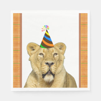 Party Like An Animal Lion With Hat Birthday Disposable Napkins