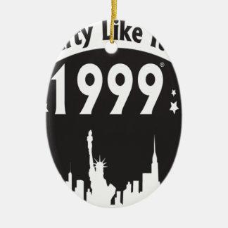 Party Like It's 1999 - Oval City Black Ceramic Oval Decoration