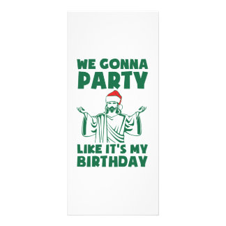 Party Like It's A Christmas Birthday Personalised Rack Card