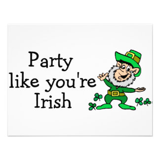 Party Like Youre Irish Personalized Announcements