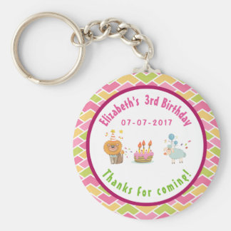 Party Lion and Sheep with Balloons Birthday Thanks Basic Round Button Key Ring