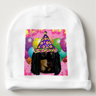 Party Long Hair Black Doxie Baby Beanie