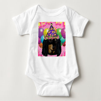 Party Long Hair Black Doxie Baby Bodysuit