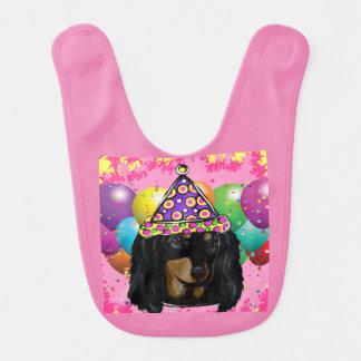 Party Long Hair Black Doxie Bib