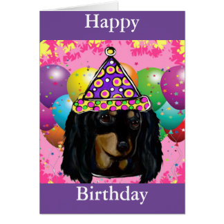 Party Long Hair Black Doxie Card