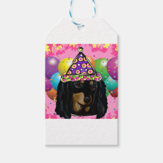 Party Long Hair Black Doxie Gift Tags
