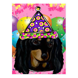 Party Long Hair Black Doxie Postcard