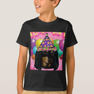 Party Long Hair Black Doxie T-Shirt