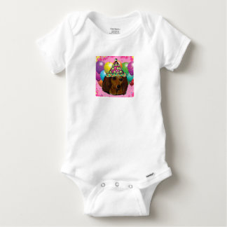 Party  Long Haired Red Doxie Baby Onesie