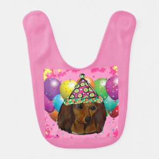 Party  Long Haired Red Doxie Bib