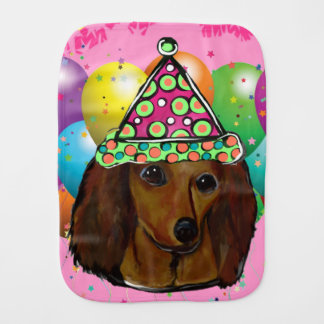Party  Long Haired Red Doxie Burp Cloth