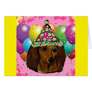 Party  Long Haired Red Doxie Card