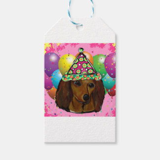 Party  Long Haired Red Doxie Gift Tags