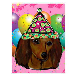 Party  Long Haired Red Doxie Postcard