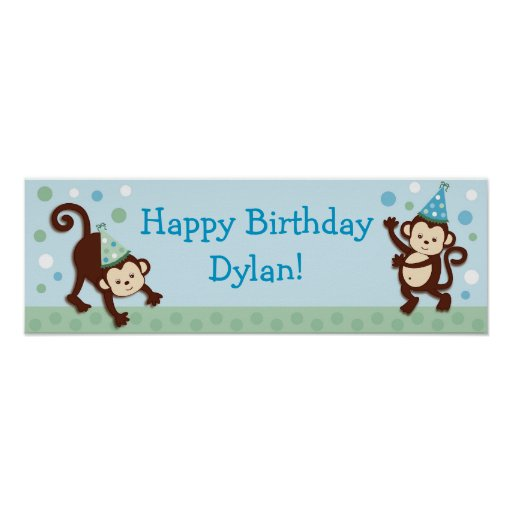 Party Monkey Personalized Birthday Banner Sign Print