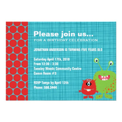 Party Monsters   Boys Birthday Party Invitation