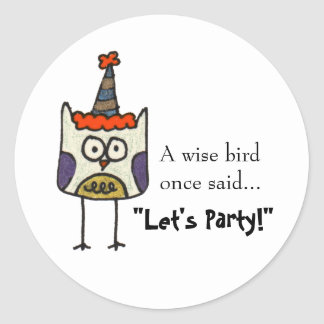 Party Owl Round Sticker