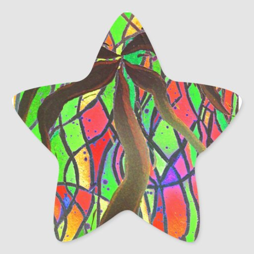 Party Palm Abstract by Kara Willis Star Sticker