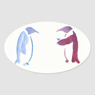 Party Penguins Oval Sticker