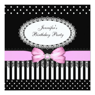 Party Pink Bow Black White Polka Dots 13 Cm X 13 Cm Square Invitation Card