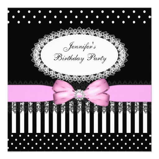 Party Pink Bow Black White Polka Dots Custom Invites