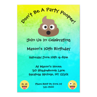Party Pooper Emoji Birthday Party Invitation