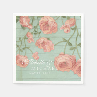 Party Pretty Blush Pink Peach Roses Wood Fence Paper Napkin