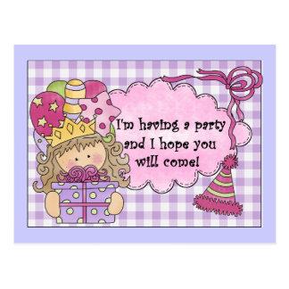 Party Princess Birthday Invitations Postcard