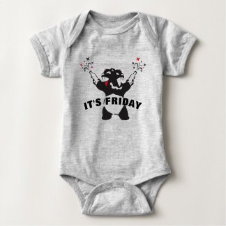 Party Psyco Bear It's Friday Baby Bodysuit