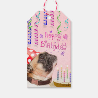 Party Pug and Birthday Cake Gift Tags