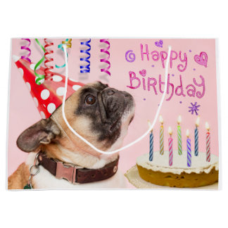 Party Pug and Birthday Cake Large Gift Bag
