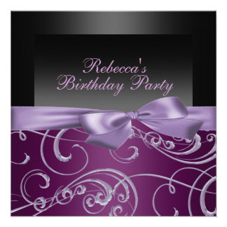 Party Purple Swirls Birthday Invitation