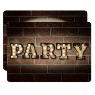 Party sign in marquee lights on brick card