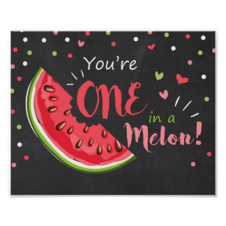 Party sign One in a melon Birthday decor nursery Poster