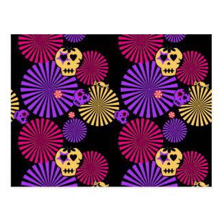 Party skulls postcard