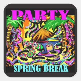 PARTY SPRING BREAK SQUARE STICKER