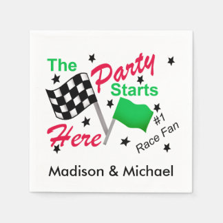 Party Starts Here Race Flag Name Personalized Disposable Serviettes