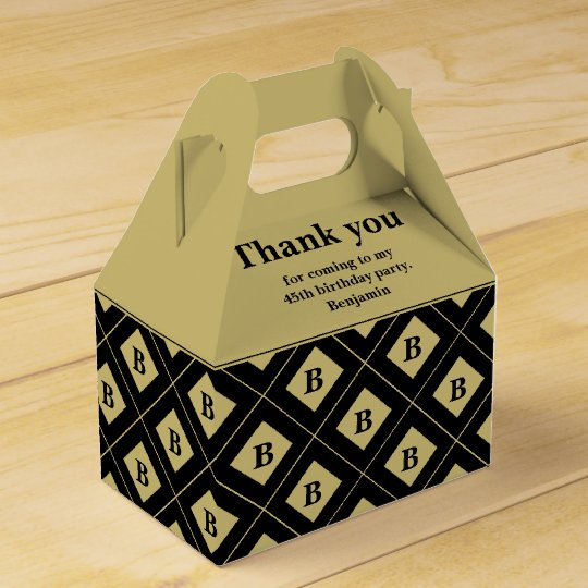 "Party ""Thank You"" Black/Gold Geometric Blocks Favour Boxes"